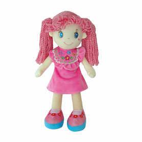Różowa lalka szmacianka z warkoczykami