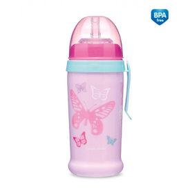 Canpol Bidon niekapek różowy z motylkami z silikonową miękką rurką