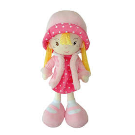 Lalka szmacianka różowa z bląd włosami