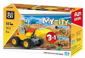 Klocki Blocki MyCity 3w1 Koparka Spychacz 52el