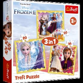 Trefl 34847 Puzzle 3w1 Frozen Moc Anny i Elsy