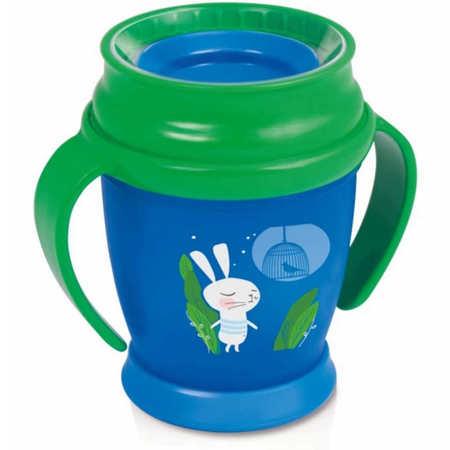 Kubek Lovi 360 niebieski z króliczkiem z zieloną nakętką