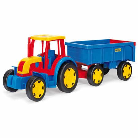 Duży Traktor z przyczepą w kolorach niebieskim, czerwonym, żółtym