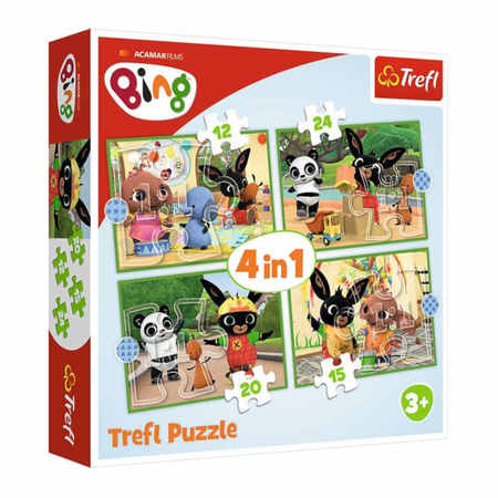 Trefl 34357 Puzzle 4w1 Wesoły Dzień Binga (1)