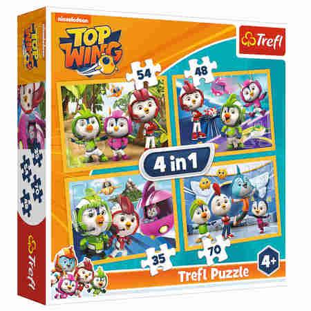 Trefl 34342 Puzzle 4w1 Top Wings Ptasia Akademia (1)