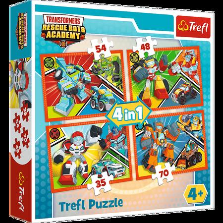 Trefl 34313 Puzzle 4w1 Akademia Transformersów (1)