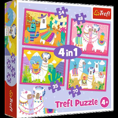 Trefl 34322 Puzzle 4w1 Lamy Na Wakacjach (1)