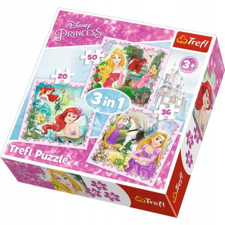 Trefl 34842 Puzzle 3w1 Roszpunka Aurora Arielka (1)