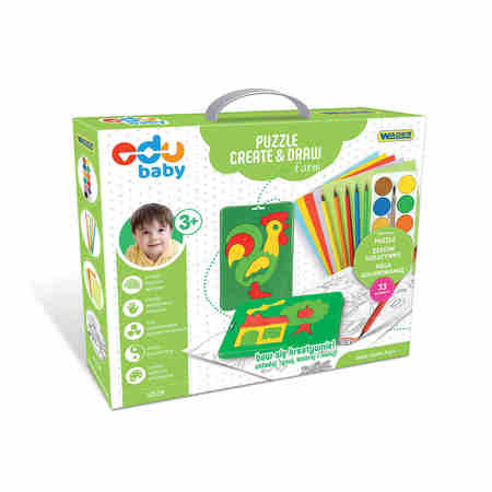 Wader 42130 Edu Puzzle Creat & Draw Farma (1)